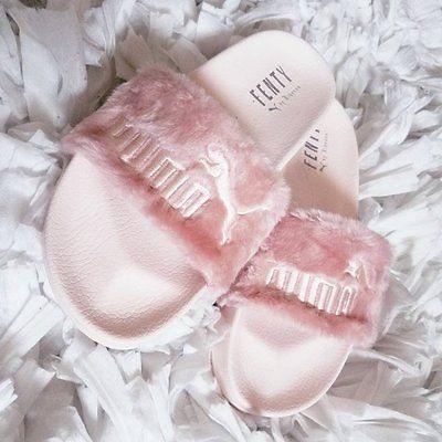 puma x rihanna leadcat fenty fur pink sandal slide slipper